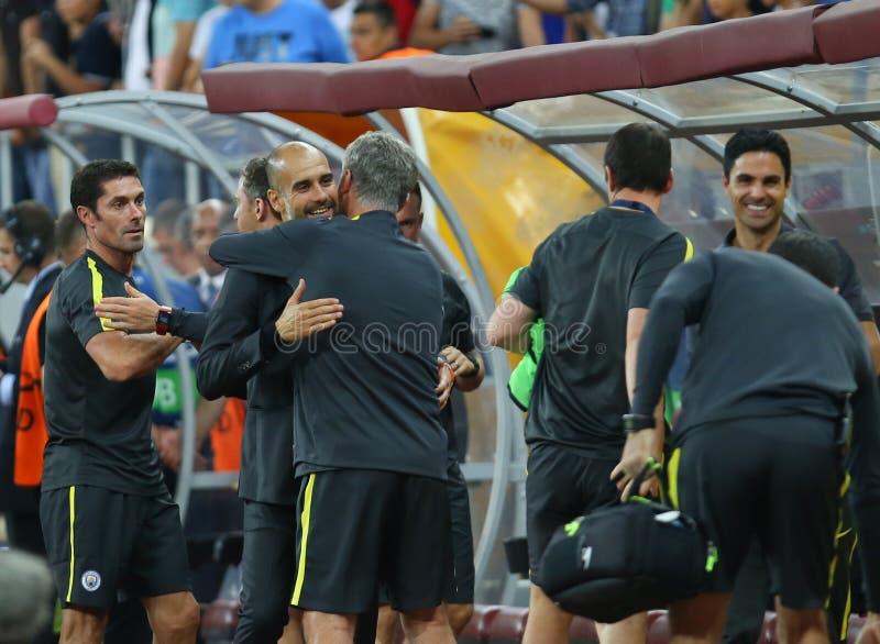 UEFA CHAMPIONS LEAGUE QUALIFICATION – STEAUA BUCHAREST vs. MANCHESTER CITY. Manchester City's head coach Pep Guardiola ( C ) celebrates after his stock photo