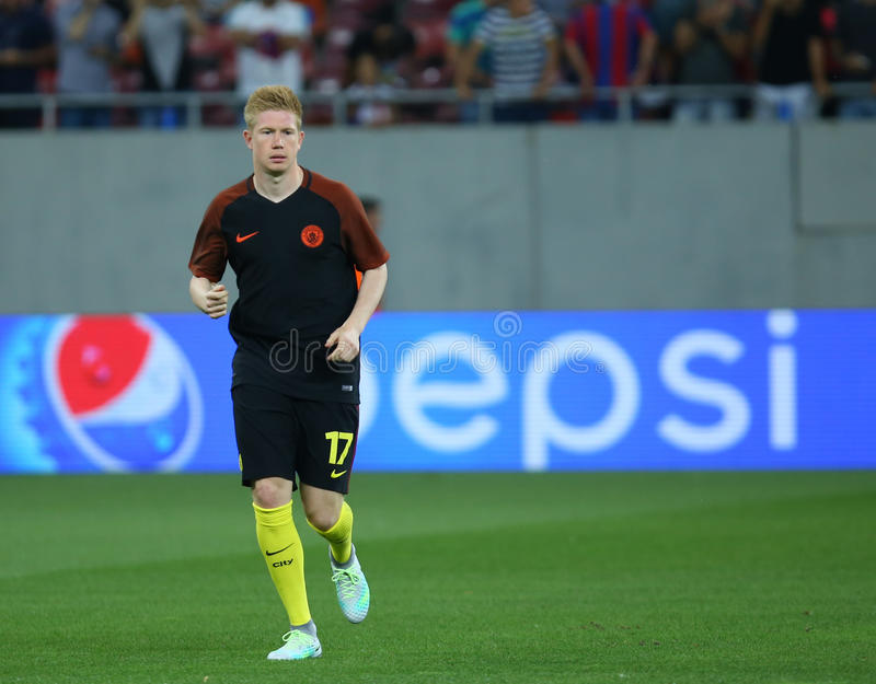 UEFA CHAMPIONS LEAGUE QUALIFICATION – STEAUA BUCHAREST vs. MANCHESTER CITY. Manchester City's Kevin De Bruyne in action at warm-up before the UEFA royalty free stock image