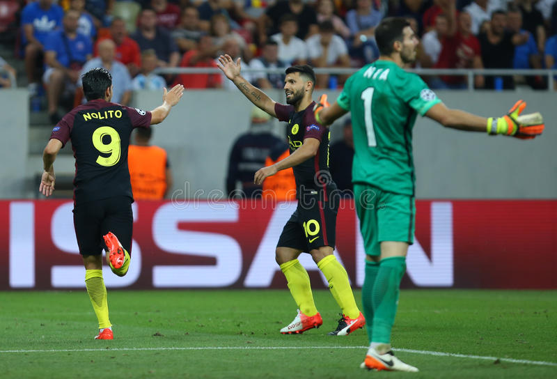 UEFA CHAMPIONS LEAGUE QUALIFICATION – STEAUA BUCHAREST vs. MANCHESTER CITY. Manchester City's Manuel Agudo Duran ''NOLITO'' ( L ) celebrates with stock photos
