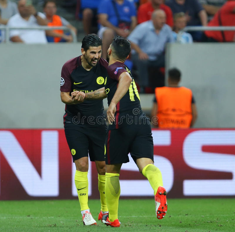 UEFA CHAMPIONS LEAGUE QUALIFICATION – STEAUA BUCHAREST vs. MANCHESTER CITY. Manchester City's Manuel Agudo Duran ''NOLITO'' L celebrates with royalty free stock images