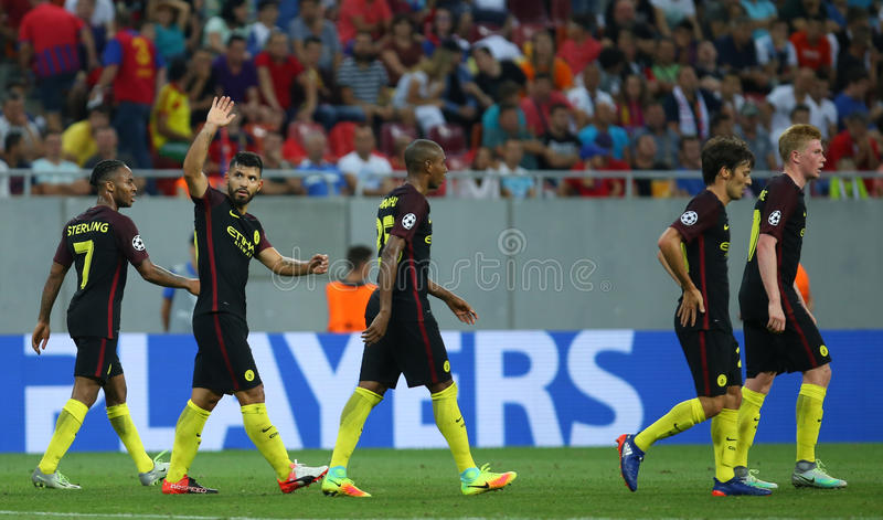 UEFA CHAMPIONS LEAGUE QUALIFICATION – STEAUA BUCHAREST vs. MANCHESTER CITY. Manchester City's players celebrates after scoring during the UEFA royalty free stock images