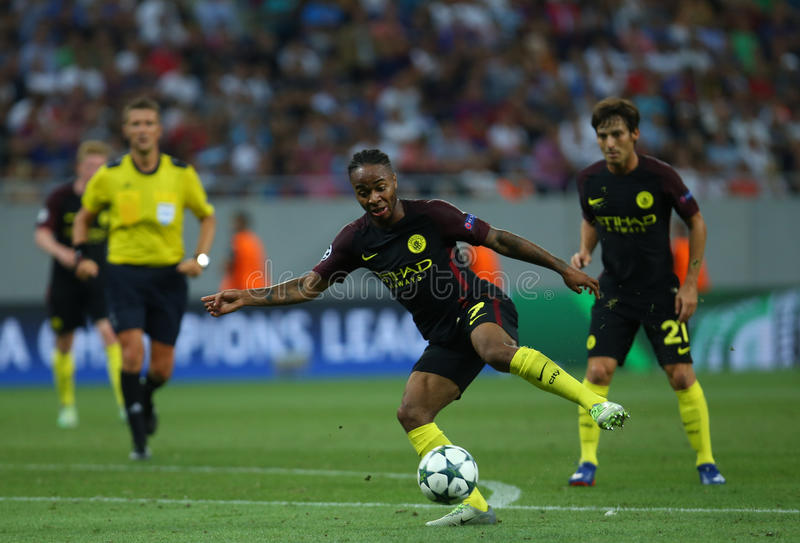 UEFA CHAMPIONS LEAGUE QUALIFICATION – STEAUA BUCHAREST vs. MANCHESTER CITY. Manchester City's Raheem Sterling in action during the UEFA Champions stock photos