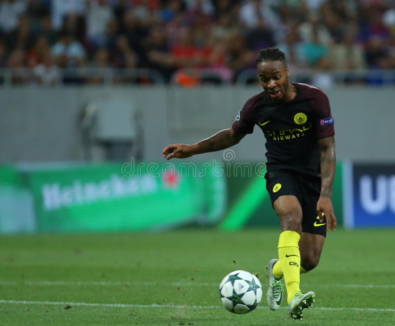 UEFA CHAMPIONS LEAGUE QUALIFICATION – STEAUA BUCHAREST vs. MANCHESTER CITY. Manchester City's Raheem Sterling in action during the UEFA Champions stock images