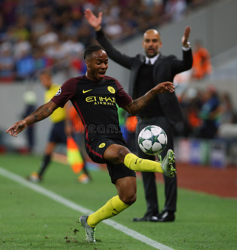 UEFA CHAMPIONS LEAGUE QUALIFICATION – STEAUA BUCHAREST vs. MANCHESTER CITY. Manchester City's Raheem Sterling in action during the UEFA Champions royalty free stock image
