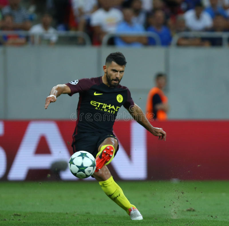 UEFA CHAMPIONS LEAGUE QUALIFICATION – STEAUA BUCHAREST vs. MANCHESTER CITY. Manchester City's Sergio Aguero in action during the UEFA Champions royalty free stock image