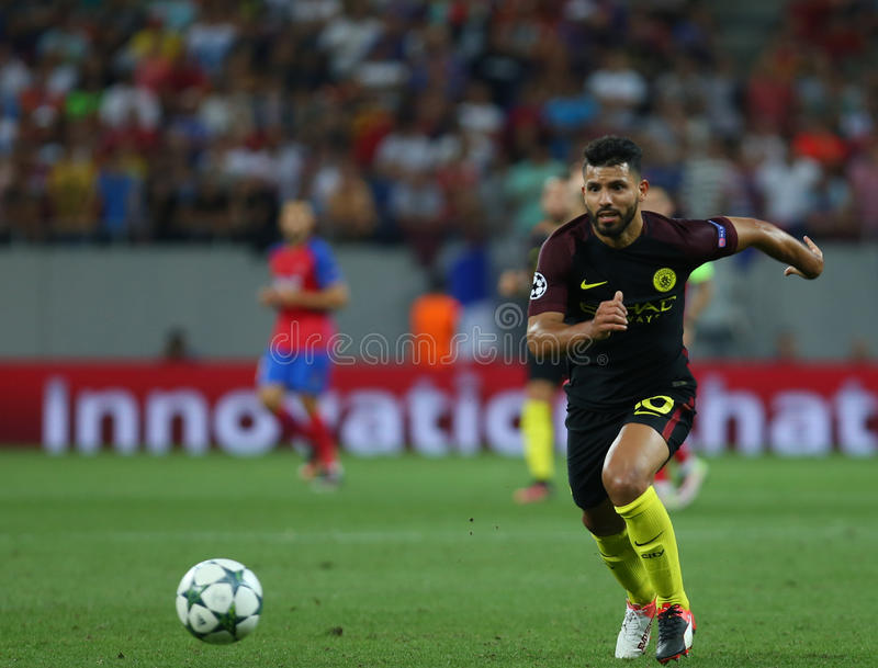 UEFA CHAMPIONS LEAGUE QUALIFICATION – STEAUA BUCHAREST vs. MANCHESTER CITY. Manchester City's Sergio Aguero in action during the UEFA Champions royalty free stock photos