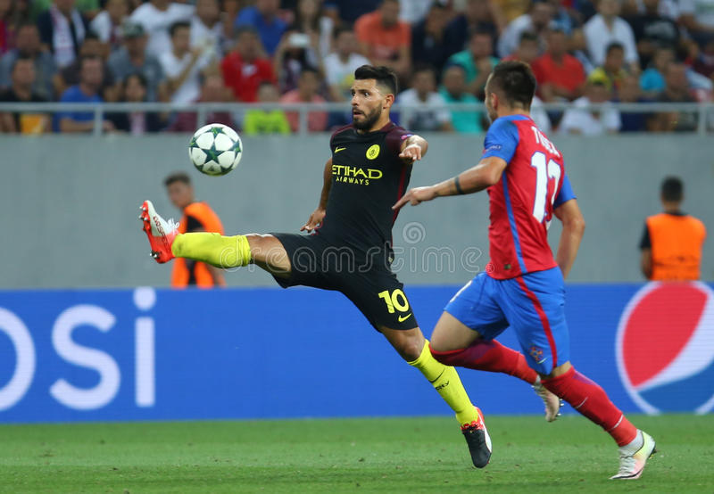 UEFA CHAMPIONS LEAGUE QUALIFICATION – STEAUA BUCHAREST vs. MANCHESTER CITY. Manchester City's Sergio Aguero L in action during the UEFA Champions stock photos