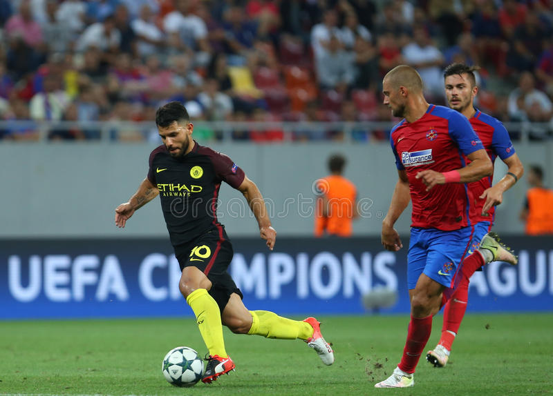 UEFA CHAMPIONS LEAGUE QUALIFICATION – STEAUA BUCHAREST vs. MANCHESTER CITY. Manchester City's Sergio Aguero ( L ) in action during the UEFA stock photos