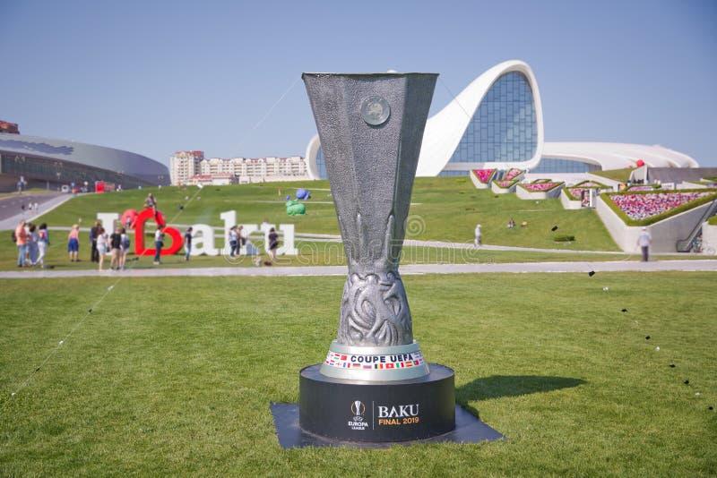 UEFA Champions League Weiße Hintergründe Baku Final 2019 des UEFA-Pokals Coupé-UEFA Europa League 2019 stockfotos