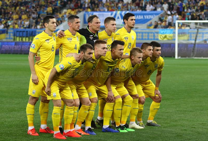 UEFA-EURO 2020 die kwalificeren om: De Oekraïne - Servië stock afbeelding
