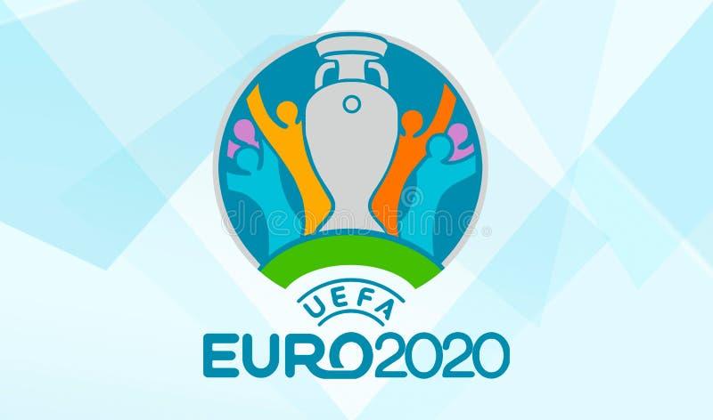 UEFA euro 2020 oficjalnych logo na błękitnym tle royalty ilustracja