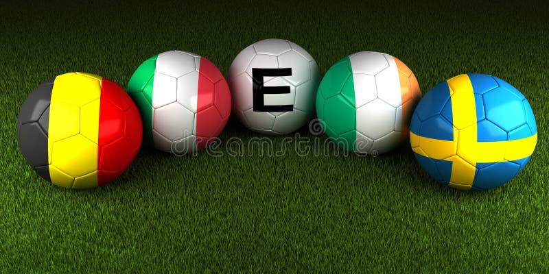 UEFA euro 2016 piłek z flaga grupa E Belgia Włochy Irel royalty ilustracja