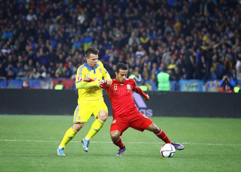 UEFA EURO 2016 Qualifying round game Ukraine vs Spain royalty free stock photos