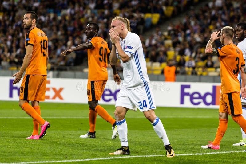 UEFA Europa futbolowego dopasowania dynama Kyiv Ligowy †'Skenderbeu, Se fotografia royalty free