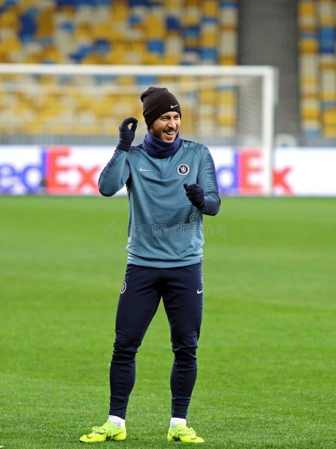 UEFA Europa League. Dynamo Kyiv v Chelsea. Pre-match training. KYIV, UKRAINE - MARCH 13, 2019: Eden Hazard of Chelsea smiles during the training session before stock photos