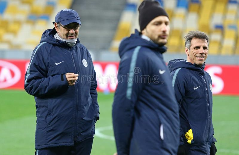 UEFA Europa League. Dynamo Kyiv v Chelsea. Pre-match training. KYIV, UKRAINE - MARCH 13, 2019: Chelsea manager Maurizio Sarri in action during the training royalty free stock images