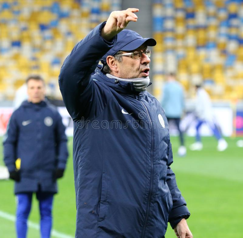 UEFA Europa League. Dynamo Kyiv v Chelsea. Pre-match training. KYIV, UKRAINE - MARCH 13, 2019: Chelsea manager Maurizio Sarri in action during the training royalty free stock image