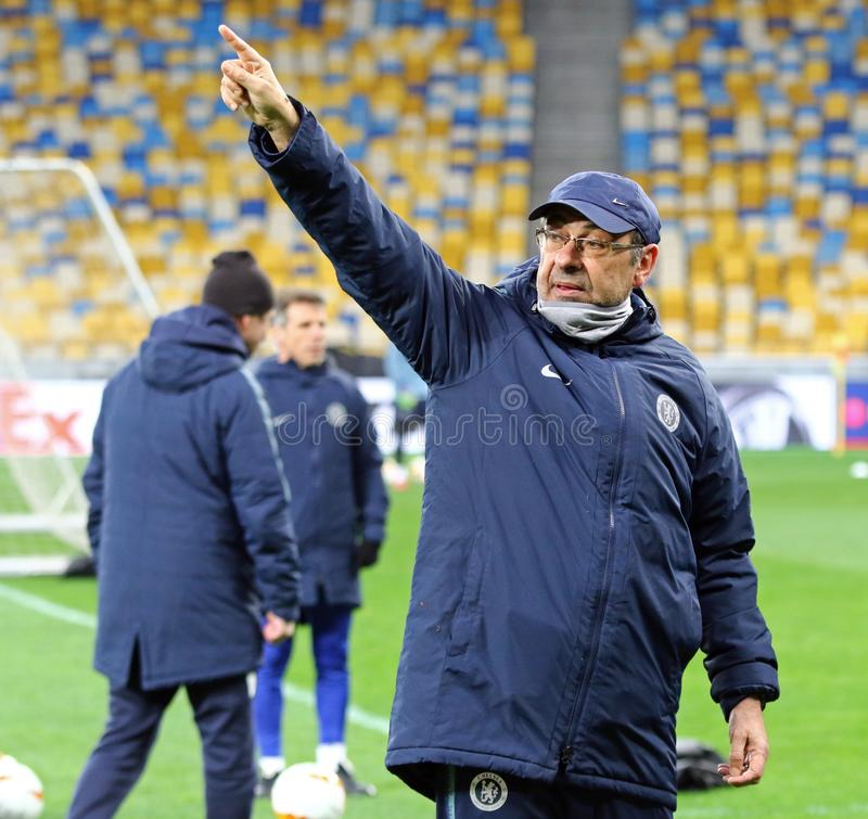 UEFA Europa League. Dynamo Kyiv v Chelsea. Pre-match training. KYIV, UKRAINE - MARCH 13, 2019: Chelsea manager Maurizio Sarri in action during the training stock photography