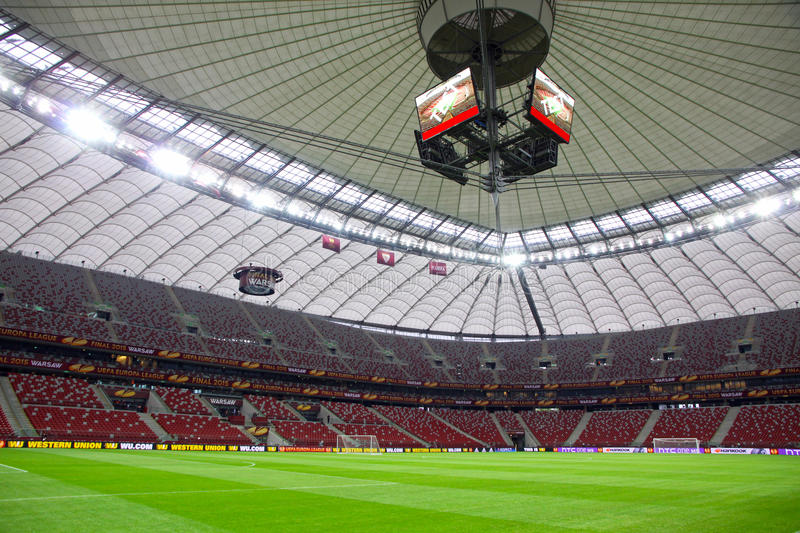 UEFA Europa League 2015 Final: Training session. WARSAW, POLAND - MAY 27, 2015: Panoramic view of Warsaw National Stadium Stadion Narodowy during Training stock photo