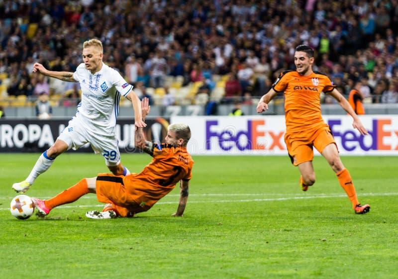 UEFA Europa League football match Dynamo Kyiv – Skenderbeu, Se. Kyiv, Ukraine - September 14, 2017: Vitaliy Buyalskiy of Dynamo Kyiv in action against royalty free stock photos