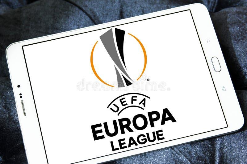 Uefa europa league logo. Logo of uefa europa league on samsung tablet stock images