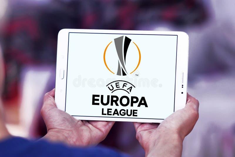 Uefa europa league logo. Logo of uefa europa league on samsung tablet stock photos