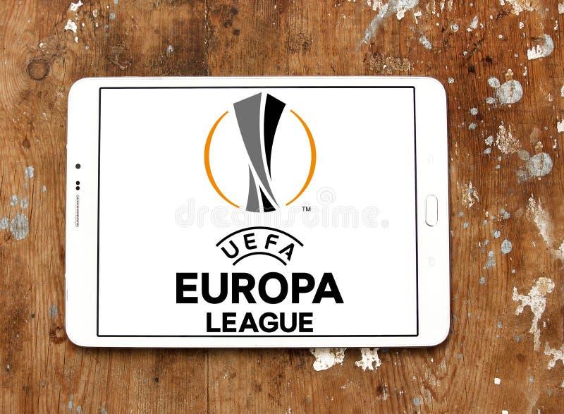 Uefa europa league logo. Logo of uefa europa league on samsung tablet on wooden background royalty free stock photo