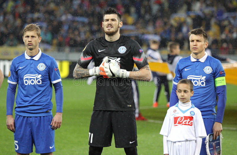 UEFA Europa League semifinal game Dnipro vs Napoli. KYIV, UKRAINE - MAY 14, 2015: FC Dnipro players looks on before UEFA Europa League semifinal game against SSC stock images