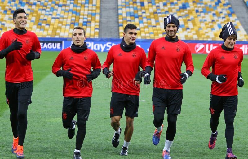 UEFA-Meister-Liga Dynamo Kiev V Benfica: Vormatchtraining stockbild