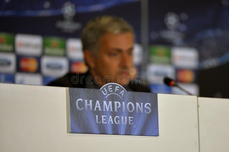 UEFA-Meister-Liga - Pressekonferenz lizenzfreie stockfotografie