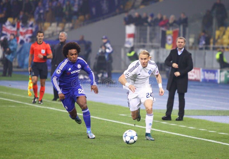 UEFA verdedigt de Dynamo Kyiv van het Ligaspel FC versus Chelsea royalty-vrije stock fotografie