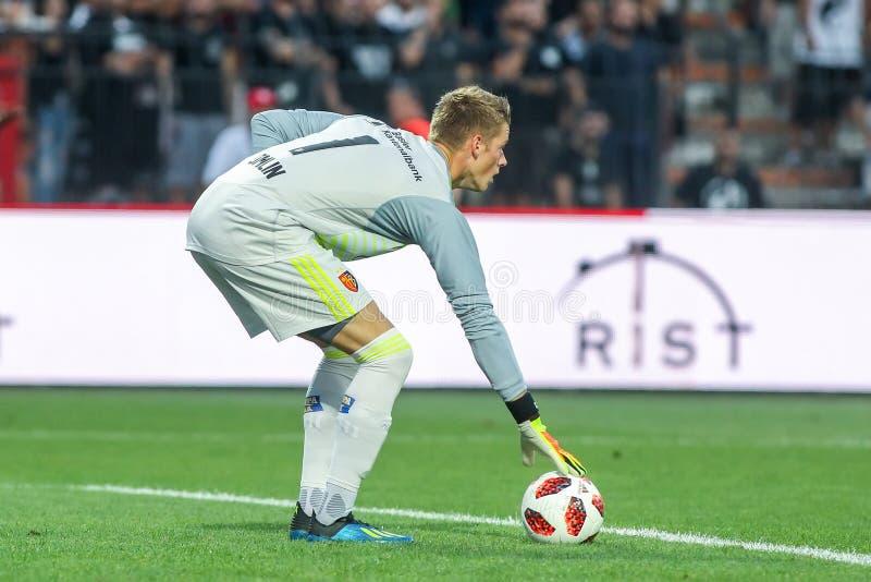 UEFA verdedigt Liga Tweede die, 1st gelijke betwe rond kwalificeren stock foto