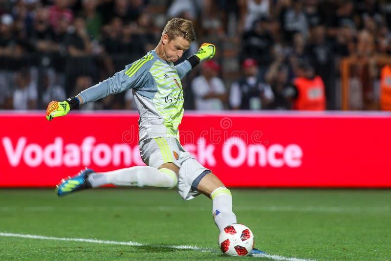 UEFA verdedigt Liga Tweede die, 1st gelijke betwe rond kwalificeren stock fotografie