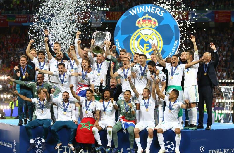 UEFA verdedigt Ligadef. 2018 Real Madrid v Liverpool royalty-vrije stock foto