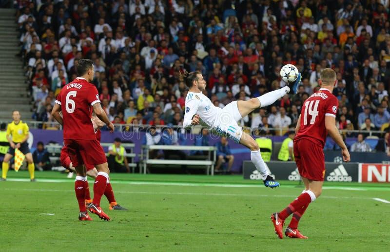 UEFA verdedigt Ligadef. 2018 Real Madrid v Liverpool, Kiev, royalty-vrije stock foto