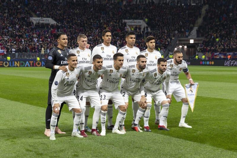 UEFA verdedigt Ligaspel bij Luzhniki-stadion, CSKA - Real Madrid royalty-vrije stock afbeeldingen
