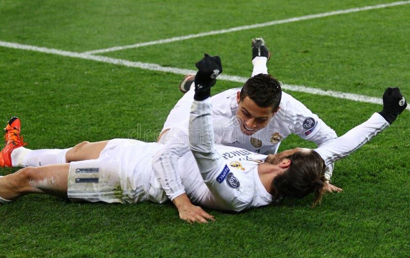 UEFA verdedigt Ligaspel Shakhtar versus Real Madrid royalty-vrije stock fotografie