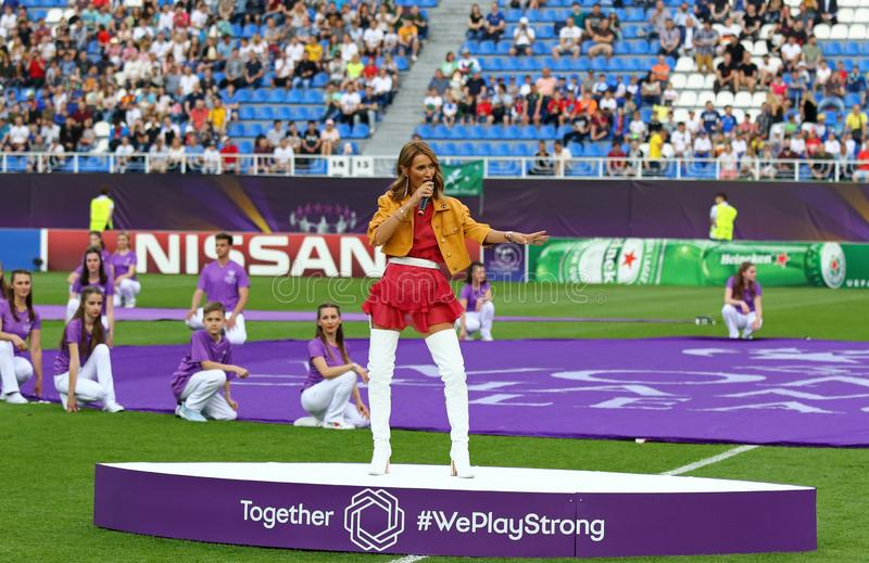 UEFA Women`s Champions League Final 2018 Wolfsburg v Lyon royalty free stock photo