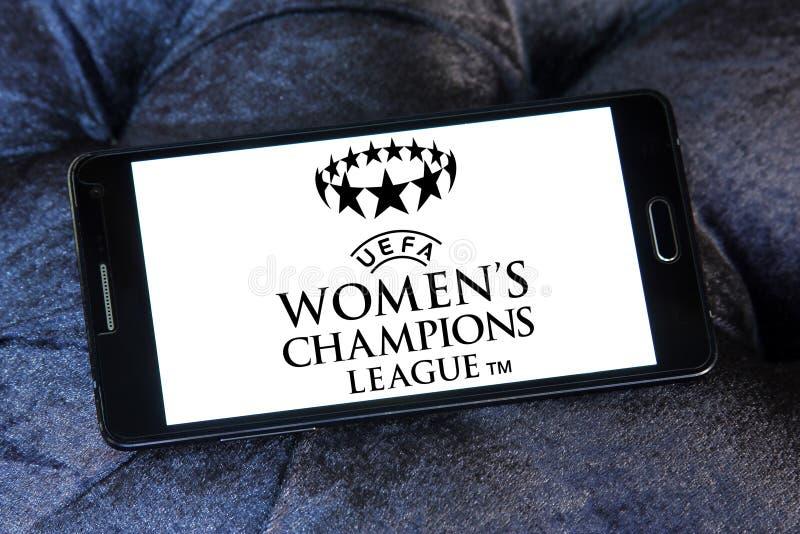 UEFA Women`s Champions League logo. Logo of UEFA Women`s Champions League on samsung mobile. it is an international women`s association football competition stock photography