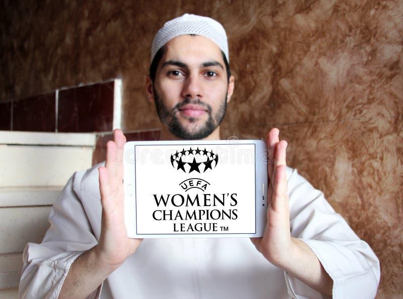 UEFA Women`s Champions League logo. Logo of UEFA Women`s Champions League on samsung tablet holded by arab muslim man. it is an international women`s association stock photos
