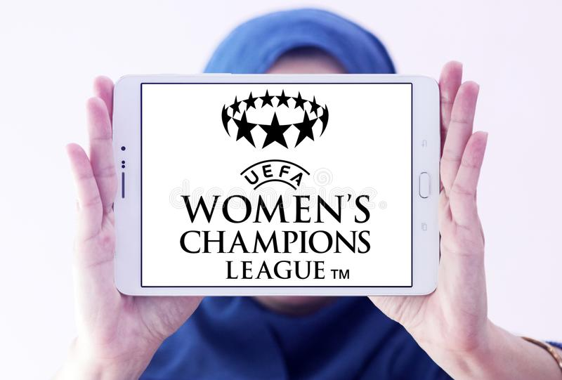 UEFA Women`s Champions League logo. Logo of UEFA Women`s Champions League on samsung tablet holded by arab muslim woman. it is an international women`s royalty free stock images