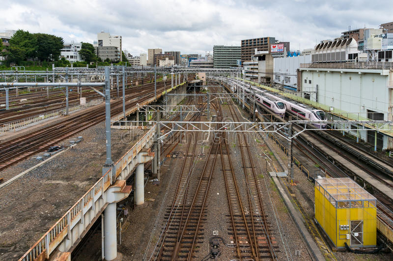 Ueno station with multystoried railway tracks royalty free stock image