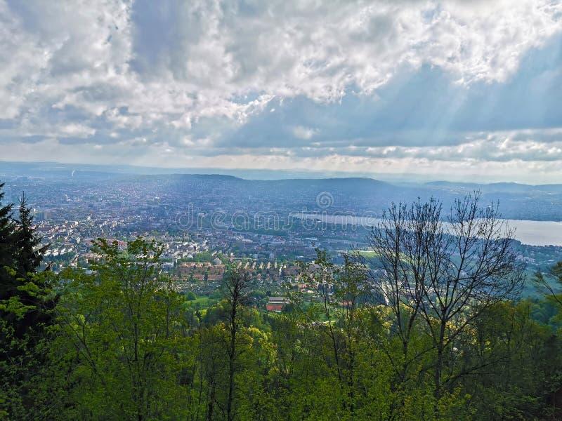 Uetliberg панорамный вид всего города Zürich, Швейцарии стоковое фото