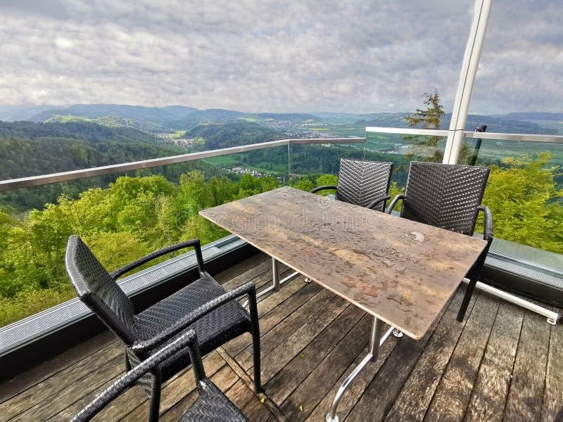 Uetliberg панорамный вид всего города Zürich, Швейцарии стоковое изображение