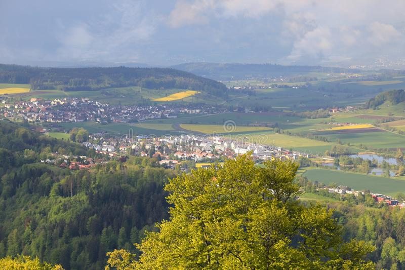 Uetliberg панорамный вид всего города Zürich, Швейцарии стоковая фотография rf
