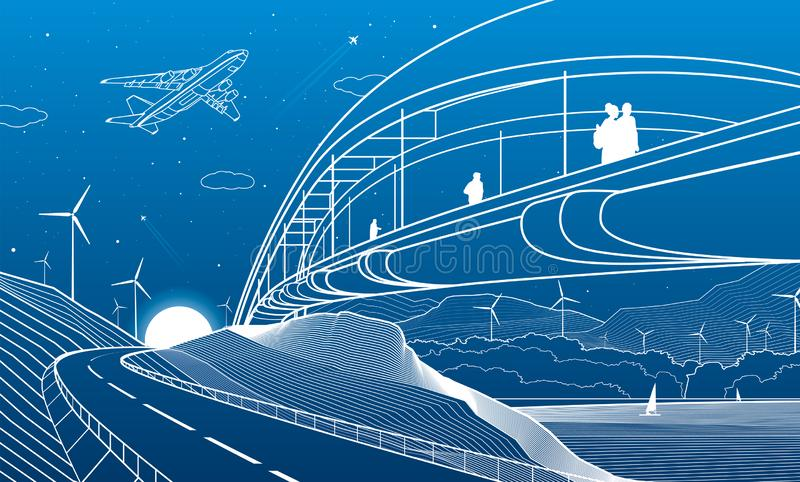 City infrastructure industrial and landscape illustration. People walk across the river bridge. Automobile road in mountains. Whit. E lines on blue background royalty free illustration