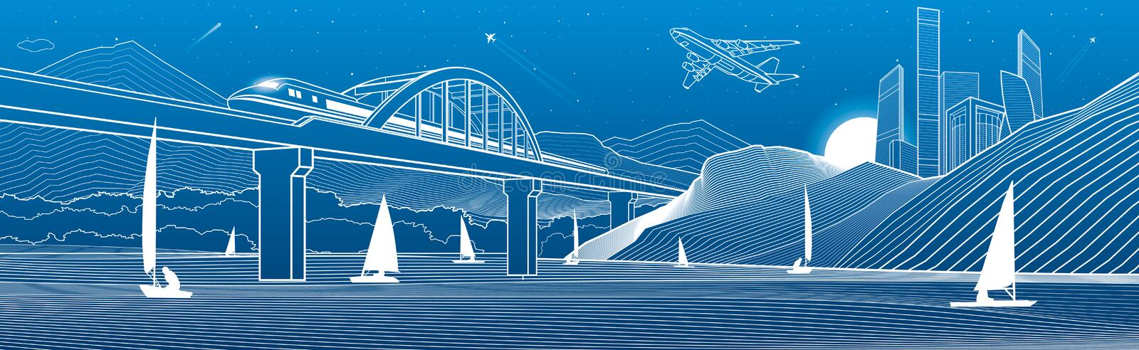 Outline illustration. View from river to night city in mountains. Yachts on water. Train travels along railway bridge. White lines. On blue background. Vector royalty free illustration