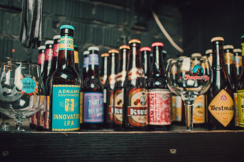 Ufa, Russia, Darling bar, 5 November, 2018: A variety of popular beer brands. Many brands including domestic and import stock images