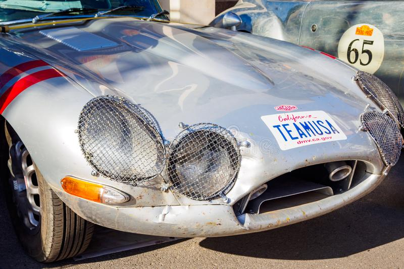 Ufa, Russia, 22 June 2019: The 7th Peking to Paris Motor Challenge. The Jaguar E-Type, British sports car, front view royalty free stock photos