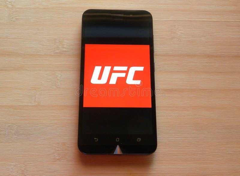 UFC-app på smartphonen arkivfoto